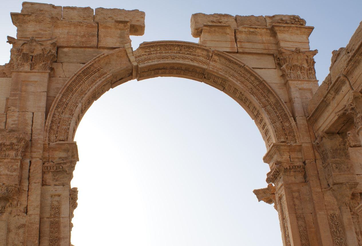 Particolare dell'arco di Settimio Severo nella via colonnata di Palmira - Siria